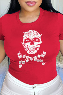 Red Daily Party Print Split Joint O Neck T-Shirts