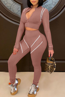 Nude Pink Casual Print Split Joint See-through Zipper Collar Long Sleeve Two Pieces