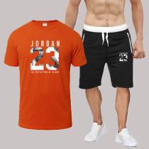 Orange Fashion Sportswear Print Split Joint O Neck Short Sleeve Two Pieces