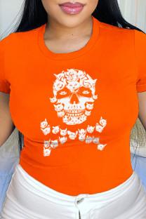 Orange Daily Party Print Split Joint O Neck T-Shirts
