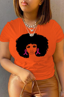 Orange Casual Daily Print Split Joint O Neck T-Shirts
