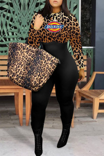 Leopard Print Fashion Casual Print Split Joint O Neck Jumpsuits