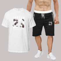White Fashion Sportswear Print Split Joint O Neck Short Sleeve Two Pieces