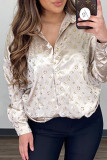 White Fashion Elegant Print Split Joint Turndown Collar Tops