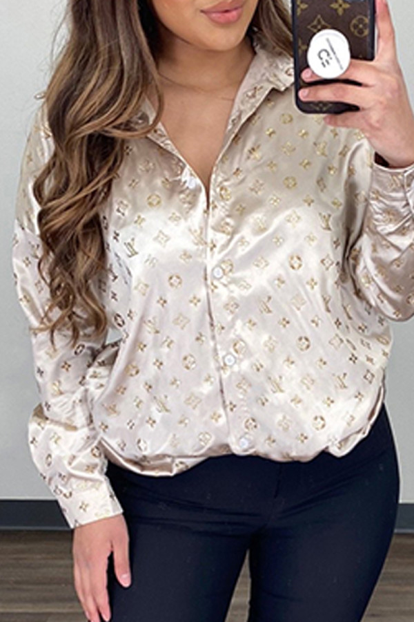 Gold Fashion Elegant Print Split Joint Turndown Collar Tops