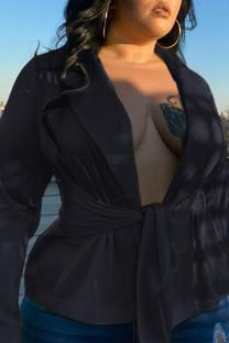 Black Sexy Casual Solid Cardigan Turndown Collar Plus Size Overcoat