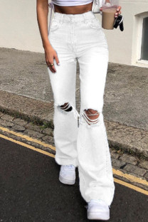 White Fashion Casual Solid Ripped High Waist Straight Jeans
