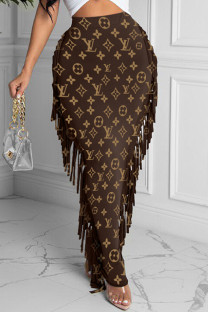 Brown Fashion Casual Print Tassel Regular High Waist Skirt