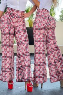 Pink Fashion Casual Print Split Joint High Waist Wide Leg Bottoms