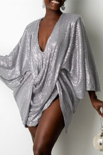 Grey Fashion Sexy Patchwork Sequins V Neck Long Sleeve Dresses