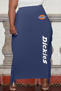 Blue Fashion Casual Print Tassel One Step Skirt Plus Size