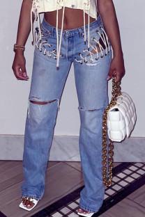 Blue Sexy Street Solid Hollowed Out Split Joint Frenulum Mid Waist Straight Denim Jeans