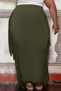 Green Fashion Casual Solid Tassel Plus Size Skirt