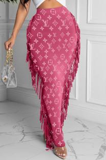 Pink Fashion Casual Print Tassel Regular High Waist Skirt