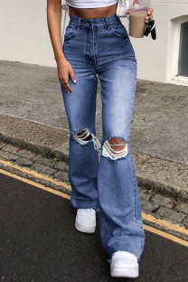 Dark Blue Fashion Casual Solid Ripped High Waist Straight Jeans