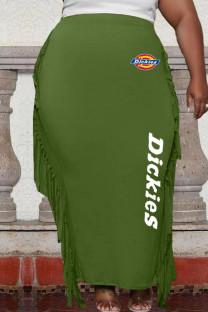 Green Fashion Casual Print Tassel One Step Skirt Plus Size