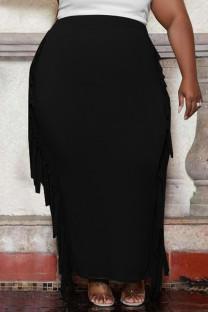 Black Fashion Casual Solid Tassel Plus Size Skirt