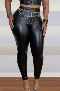 Black Fashion Casual Solid Split Joint Skinny High Waist Pencil Trousers (Without Waist Chain)