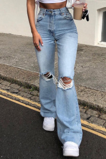 Blue Fashion Casual Solid Ripped High Waist Straight Jeans