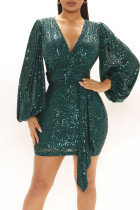 Green Sexy Solid Split Joint  Sequins V Neck One Step Skirt Dresses