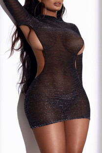 Black Fashion Sexy Solid Hollowed Out O Neck Wrapped Skirt Dresses