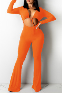Orange Sexy Casual Solid Bandage Hollowed Out V Neck Regular Jumpsuits
