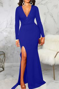 Blue Elegant Solid Split Joint High Opening V Neck Evening Dress Dresses