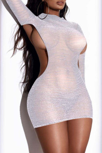 White Fashion Sexy Solid Hollowed Out O Neck Wrapped Skirt Dresses