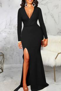 Black Elegant Solid Split Joint High Opening V Neck Evening Dress Dresses