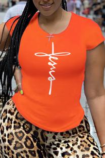 Orange Fashion Sportswear Print Split Joint O Neck T-Shirts