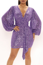 Purple Sexy Solid Split Joint  Sequins V Neck One Step Skirt Dresses