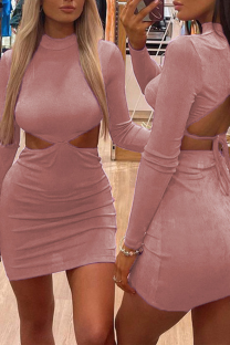 Pink Sexy Solid Hollowed Out Half A Turtleneck Pencil Skirt Dresses