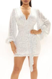 White Sexy Solid Split Joint  Sequins V Neck One Step Skirt Dresses