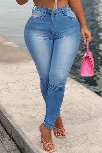 Medium Blue Fashion Casual Solid Basic High Waist Skinny Denim Jeans