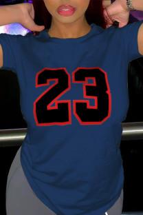 Navy Blue Casual Sportswear Print Split Joint O Neck T-Shirts