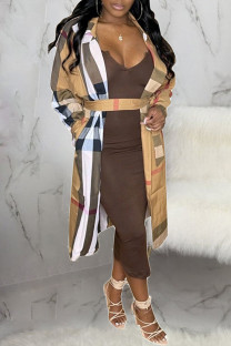 Brown Fashion Casual Plaid Split Joint Turndown Collar Outerwear