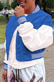 Blue Fashion Casual Patchwork Cardigan Outerwear