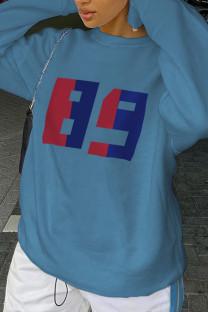 Blue Casual Sportswear Print Split Joint O Neck Tops