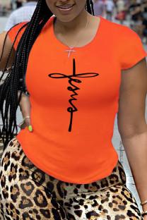 Orange Fashion Casual Print Split Joint T-Shirts