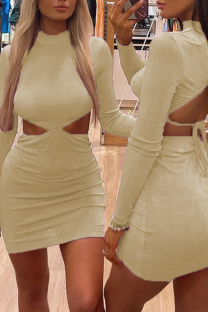 Apricot Sexy Solid Hollowed Out Half A Turtleneck Pencil Skirt Dresses