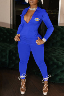 Blue Fashion Casual Print Split Joint Turndown Collar Jumpsuits