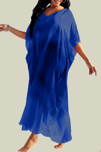 Blue Casual Solid Mesh V Neck Straight Dresses