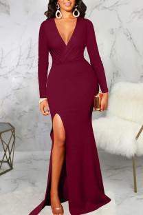 Burgundy Elegant Solid Split Joint High Opening V Neck Evening Dress Dresses