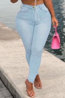 Baby Blue Fashion Casual Solid Basic High Waist Skinny Denim Jeans