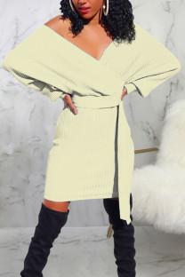White Casual Solid Bandage Split Joint V Neck One Step Skirt Dresses