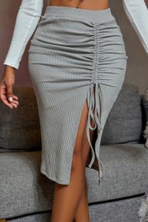 Grey Fashion Casual Solid Draw String Slit Regular Mid Waist Skirt
