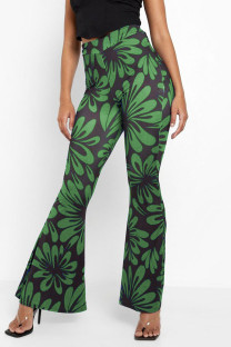 Green Fashion Casual Print Split Joint Boot Cut High Waist Speaker Full Print Bottoms