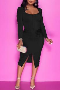 Black Casual Solid Split Joint Slit Zipper U Neck One Step Skirt Dresses