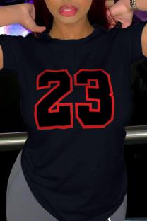Black Casual Sportswear Print Split Joint O Neck T-Shirts