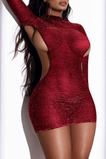 Red Fashion Sexy Solid Hollowed Out O Neck Wrapped Skirt Dresses